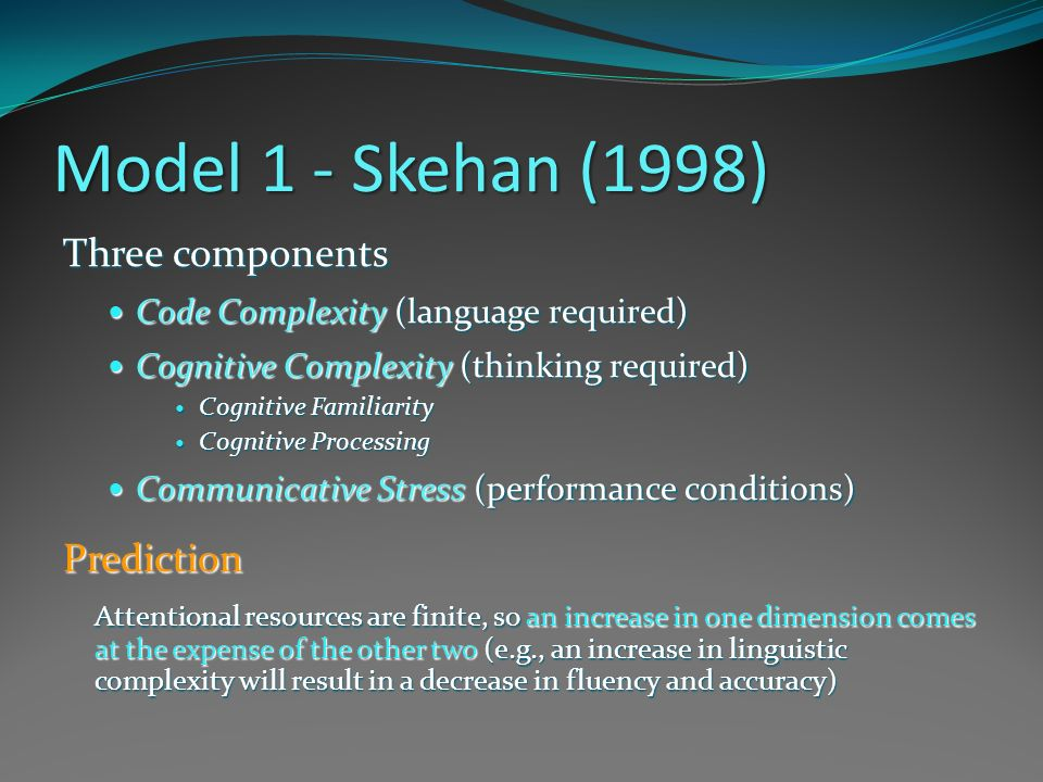 Model 1 - Skehan (1998) Three components Prediction