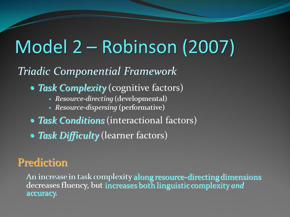 Model 2 – Robinson (2007) Triadic Componential Framework Prediction