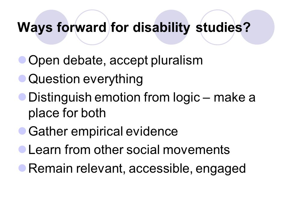 Ways forward for disability studies