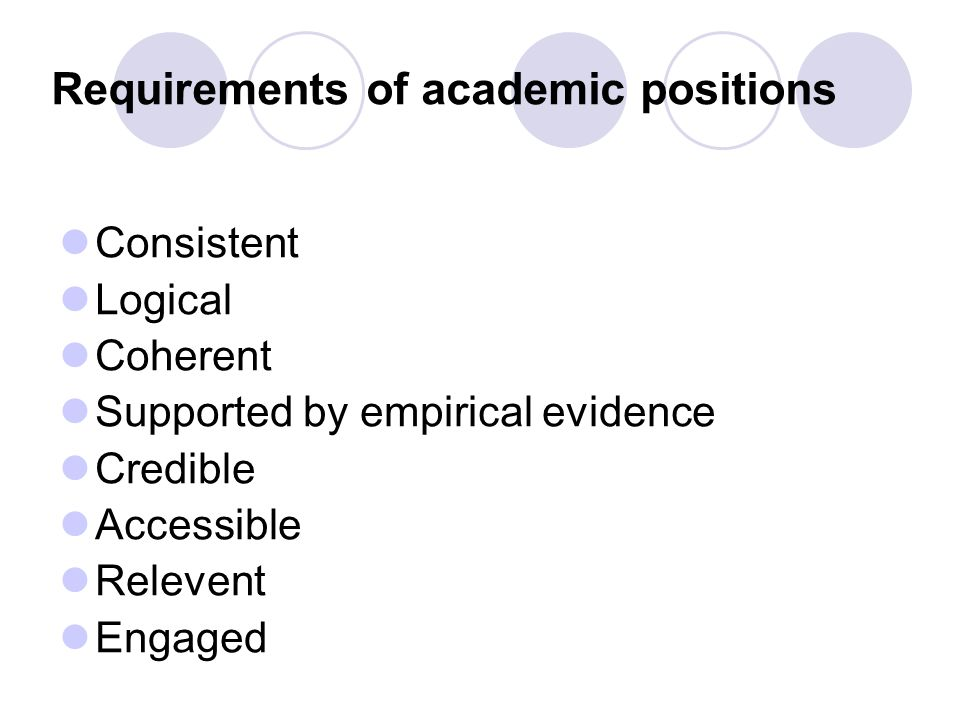 Requirements of academic positions