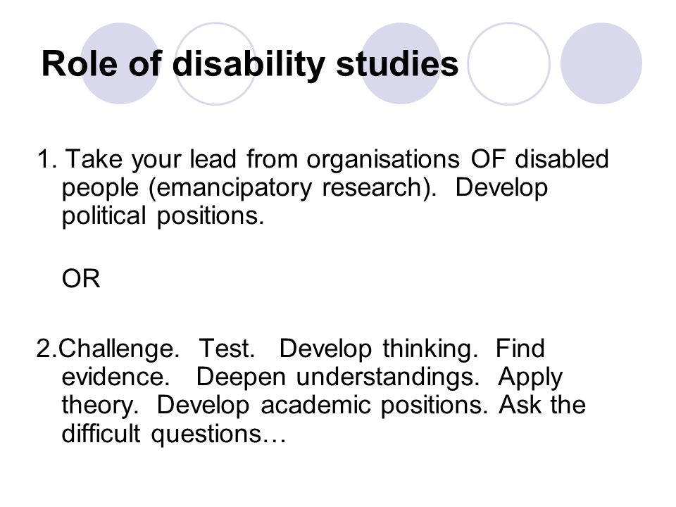 Role of disability studies