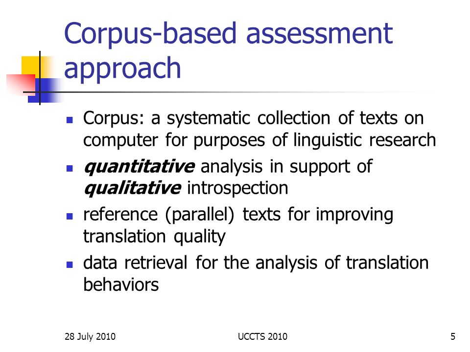 Corpus-based assessment approach