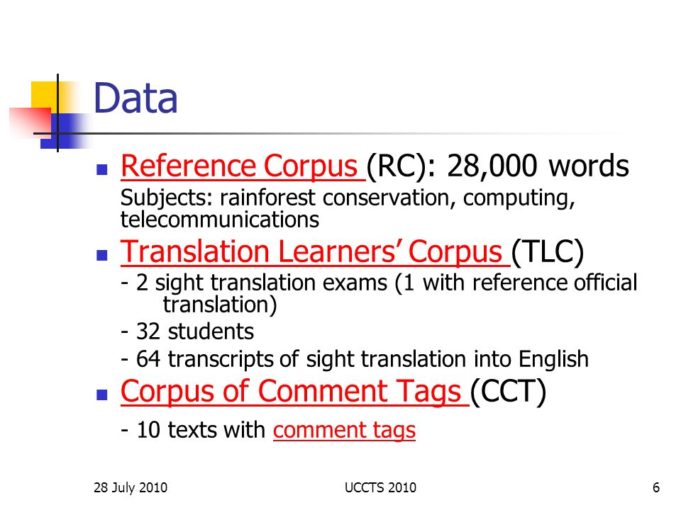 Data Reference Corpus (RC): 28,000 words