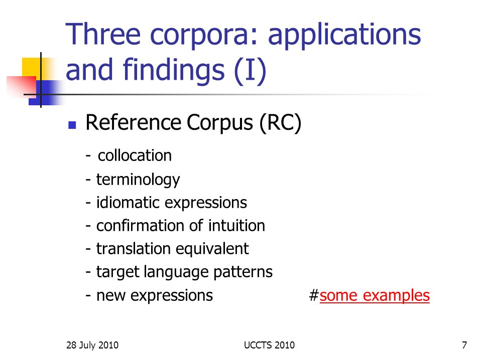 Three corpora: applications and findings (I)