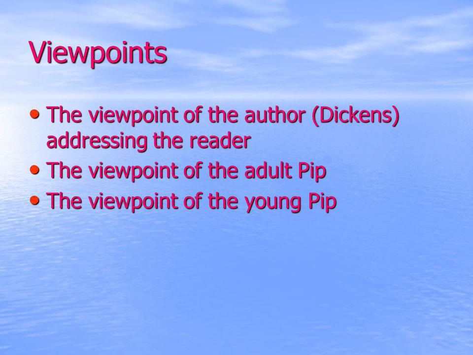 Viewpoints The viewpoint of the author (Dickens) addressing the reader