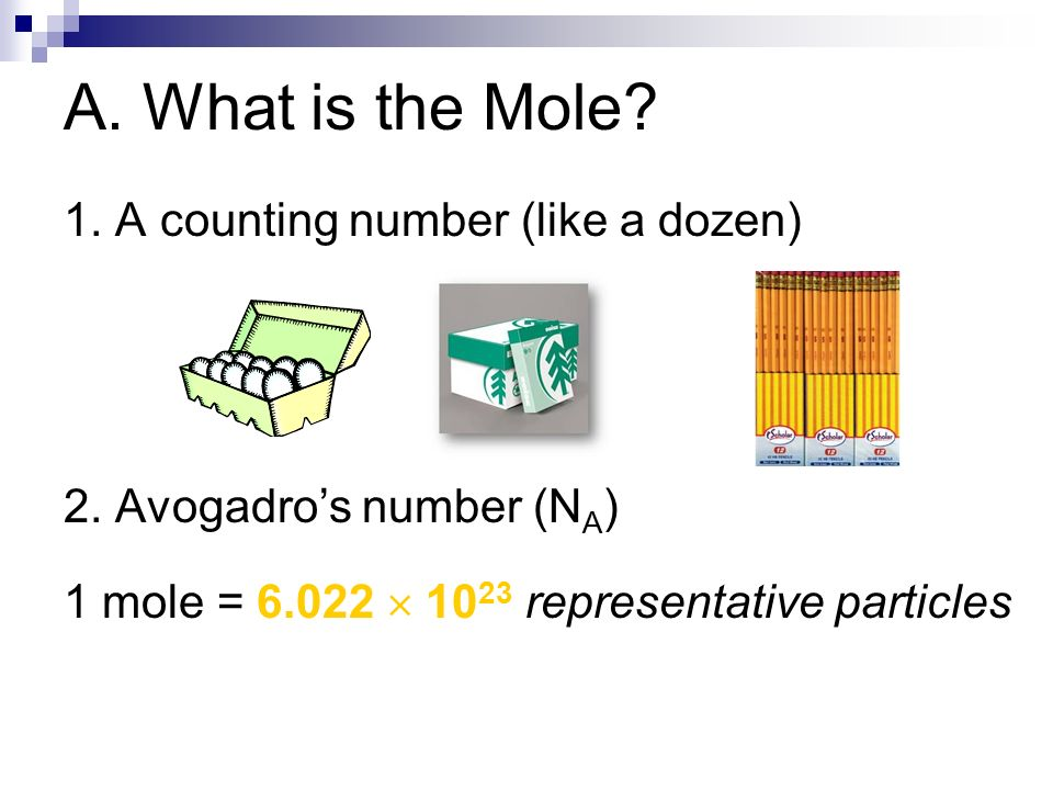 A. What is the Mole 1. A counting number (like a dozen)