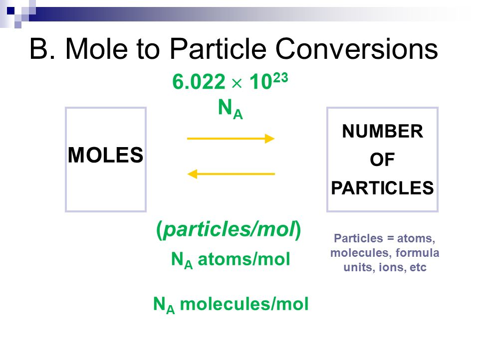 B. Mole to Particle Conversions