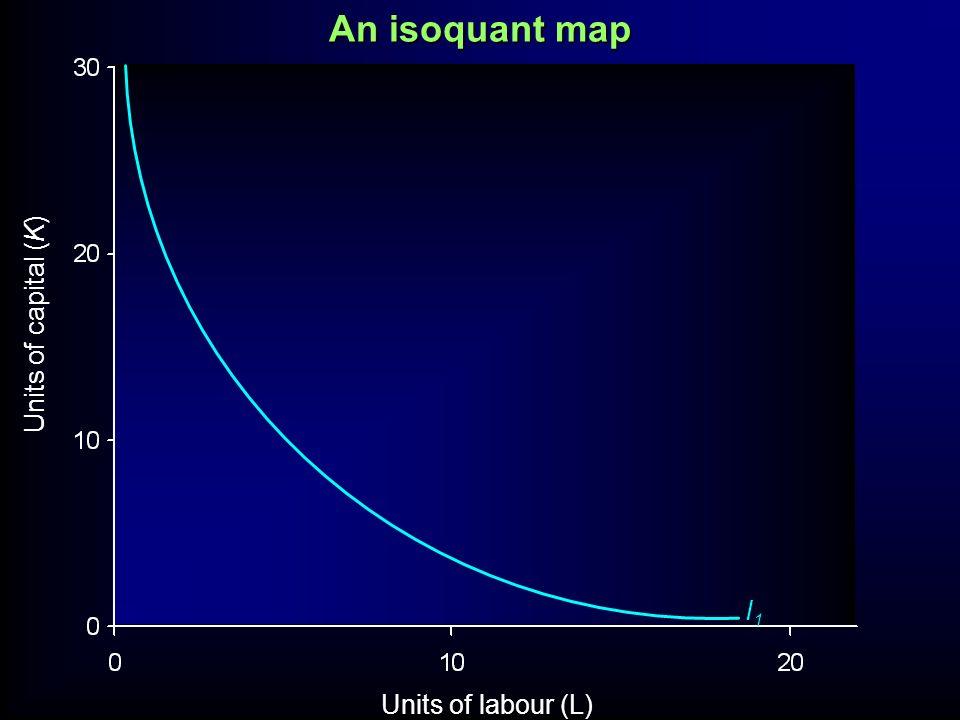 An isoquant map Units of capital (K) I1 Units of labour (L)