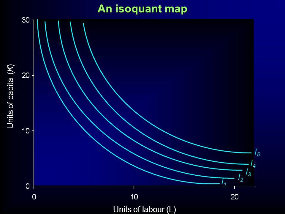 An isoquant map Units of capital (K) I5 I4 I3 I2 I1