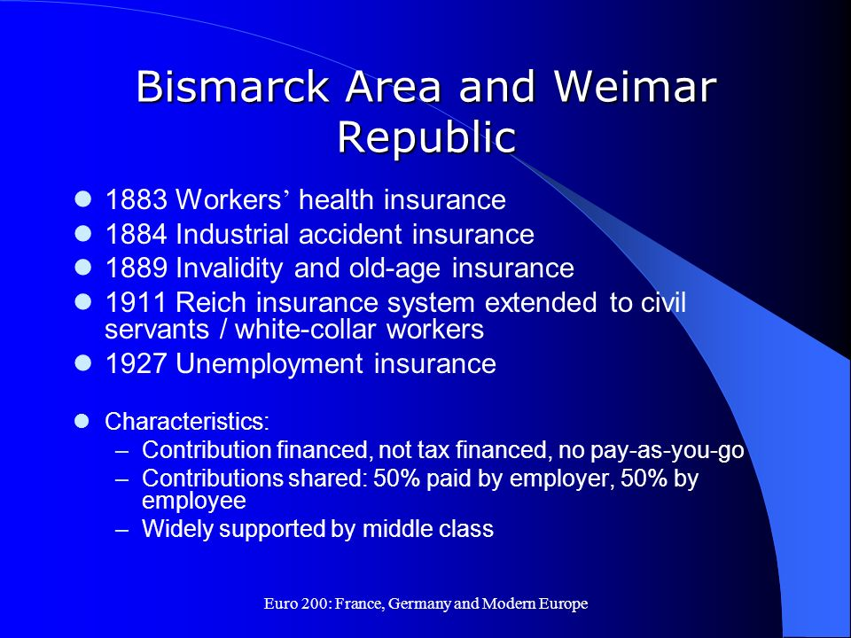 Bismarck Area and Weimar Republic