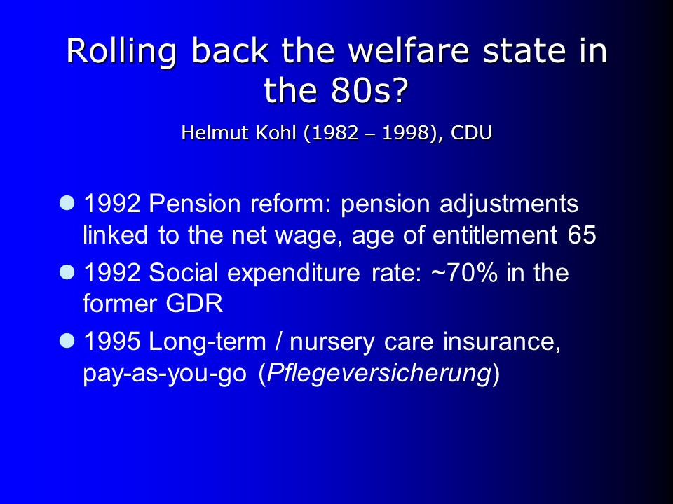 Rolling back the welfare state in the 80s