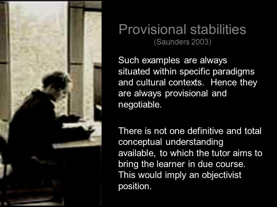 Provisional stabilities (Saunders 2003)