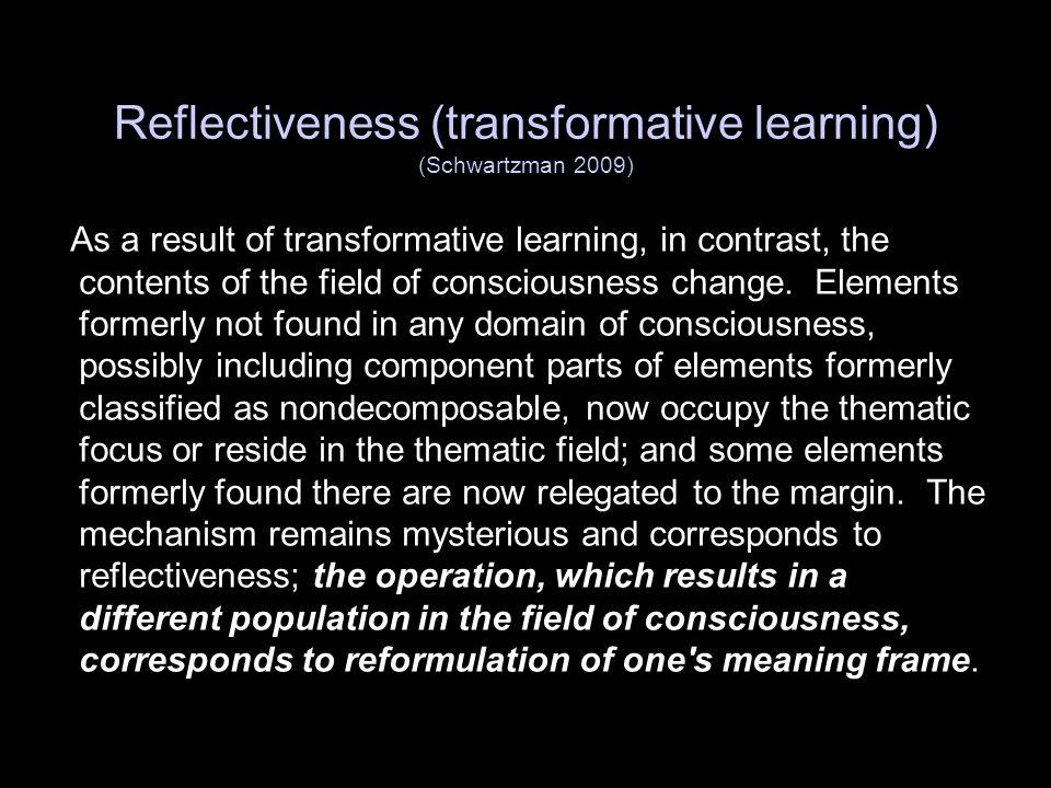 Reflectiveness (transformative learning) (Schwartzman 2009)