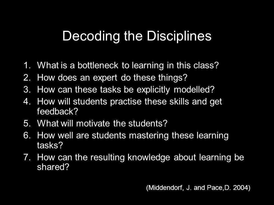 Decoding the Disciplines