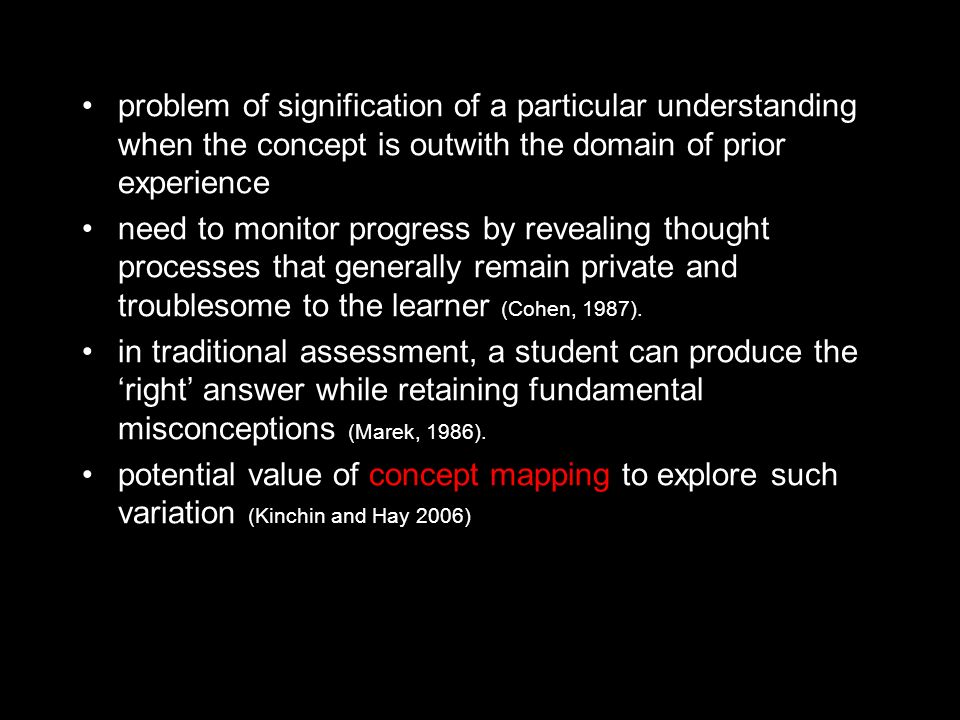 problem of signification of a particular understanding when the concept is outwith the domain of prior experience