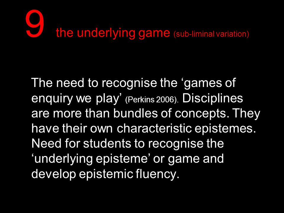9 the underlying game (sub-liminal variation)