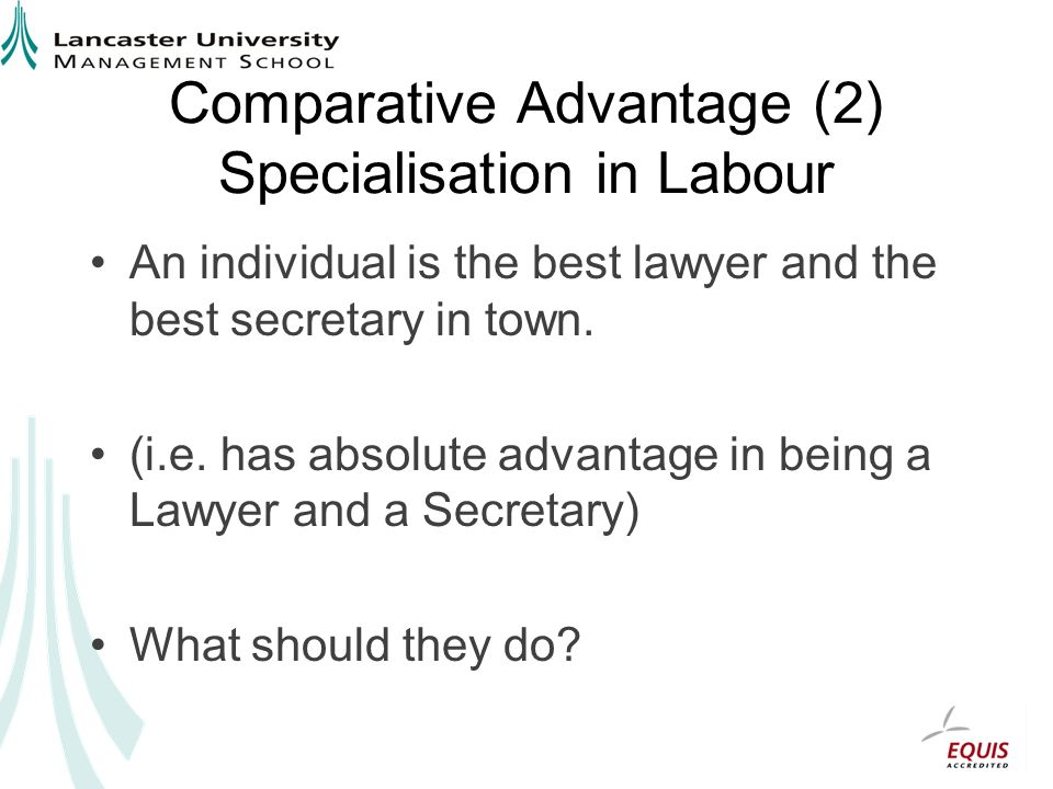 Comparative Advantage (2) Specialisation in Labour