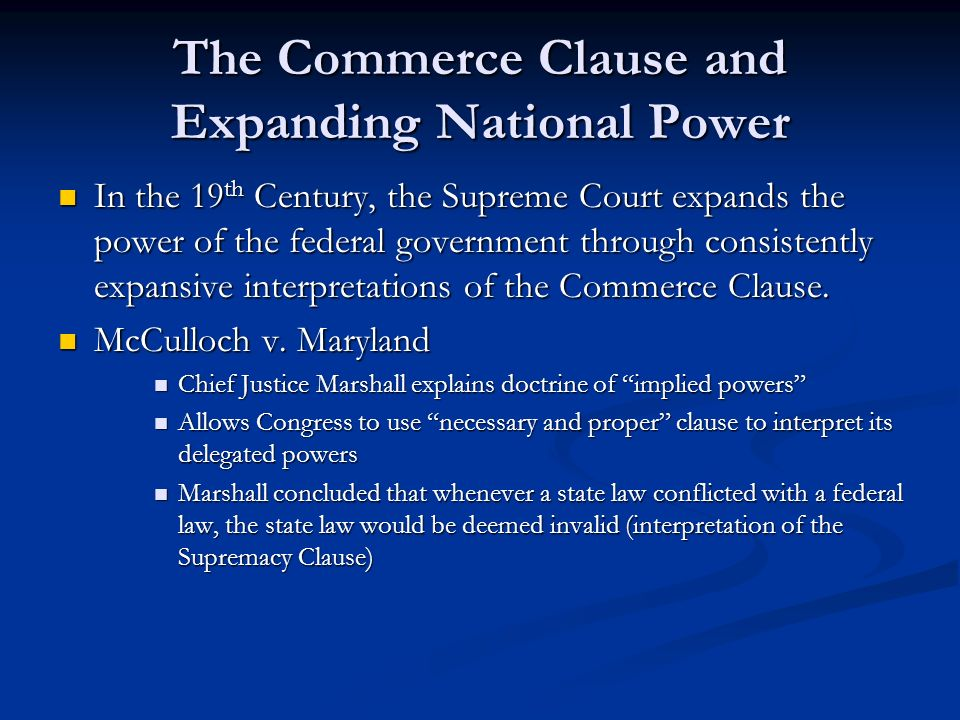 a discussion on the interpretation of the interstate commerce clause by the supreme court These questions have been addressed by the supreme court possession of arms and not interstate commerce the court interpretation of the commerce clause.