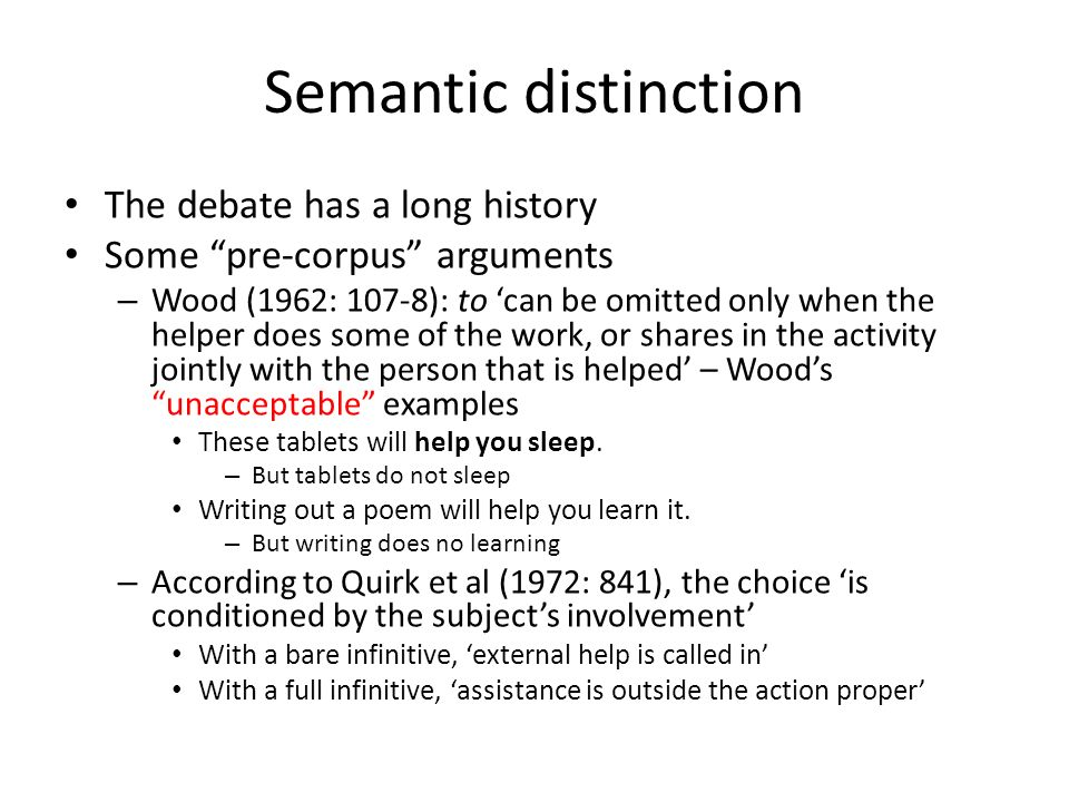Semantic distinction The debate has a long history