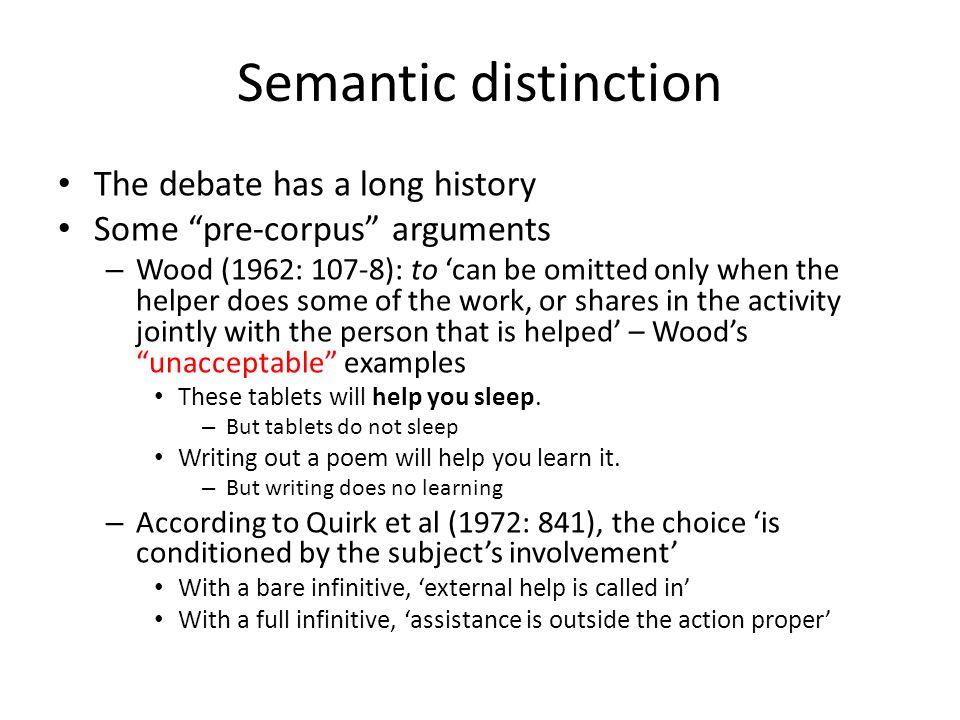 Semantic distinction The debate has a long history