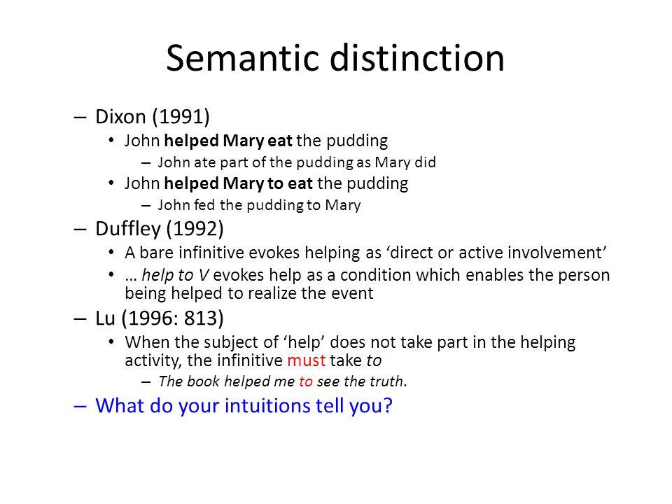 Semantic distinction Dixon (1991) Duffley (1992) Lu (1996: 813)