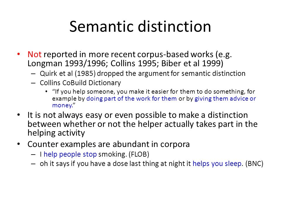 Semantic distinction Not reported in more recent corpus-based works (e.g. Longman 1993/1996; Collins 1995; Biber et al 1999)