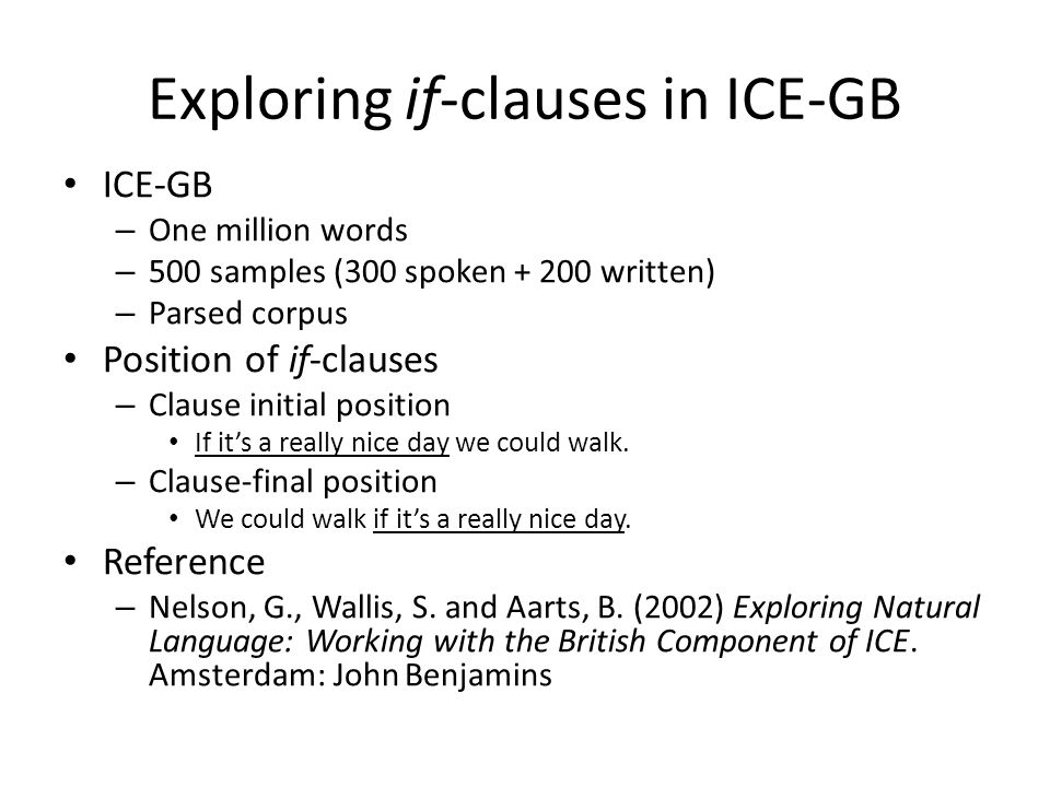 Exploring if-clauses in ICE-GB