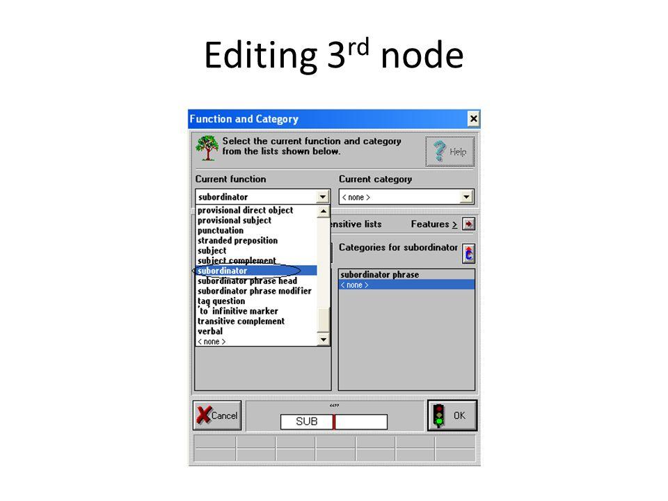 Editing 3rd node