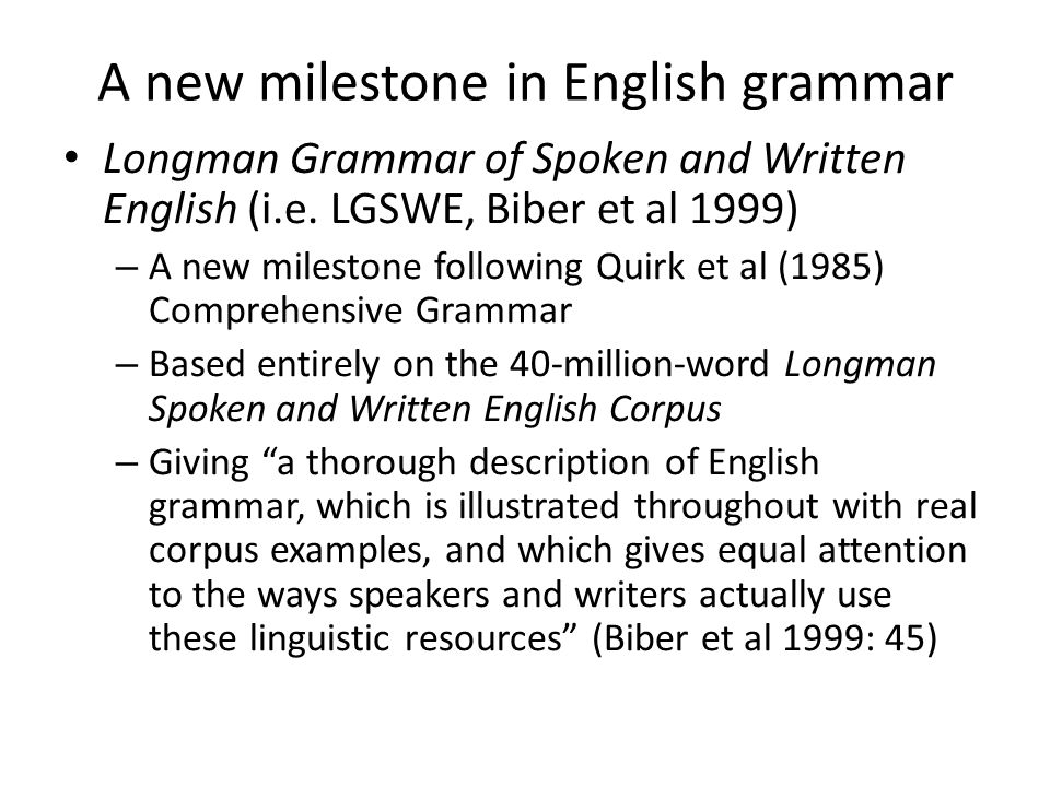 A new milestone in English grammar