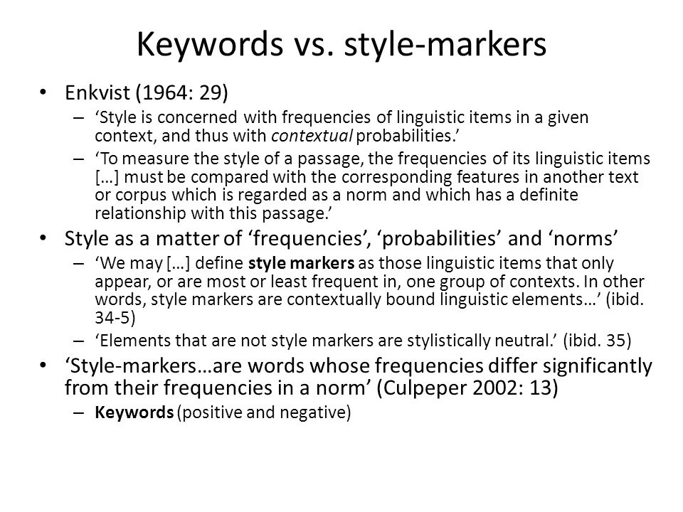 Keywords vs. style-markers