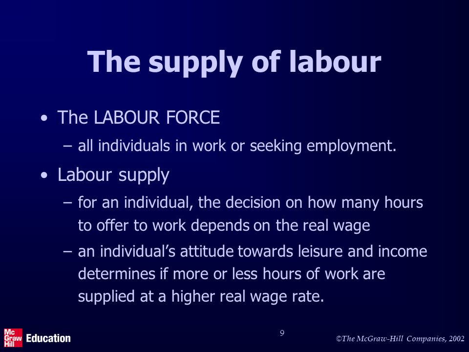 The individual's supply curve of labour