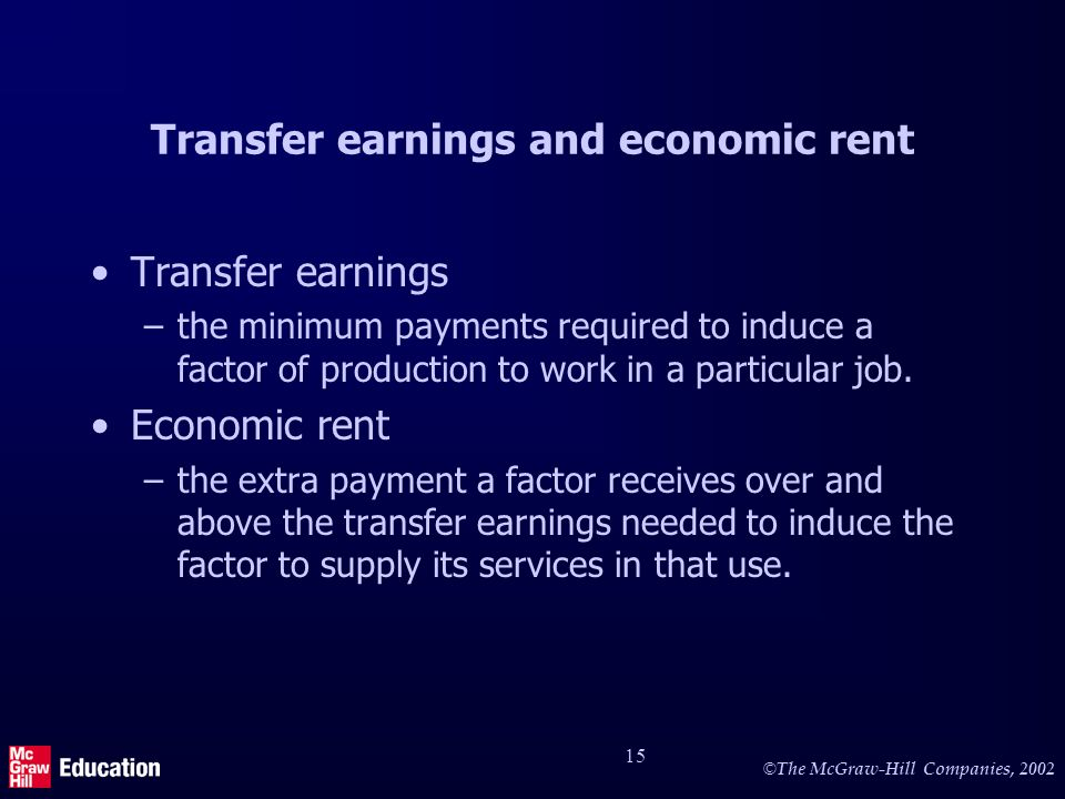 Transfer earnings and economic rent (2)