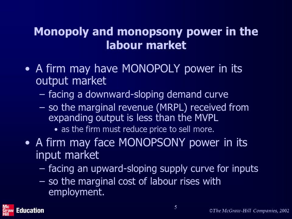 Monopoly and monopsony power (2)