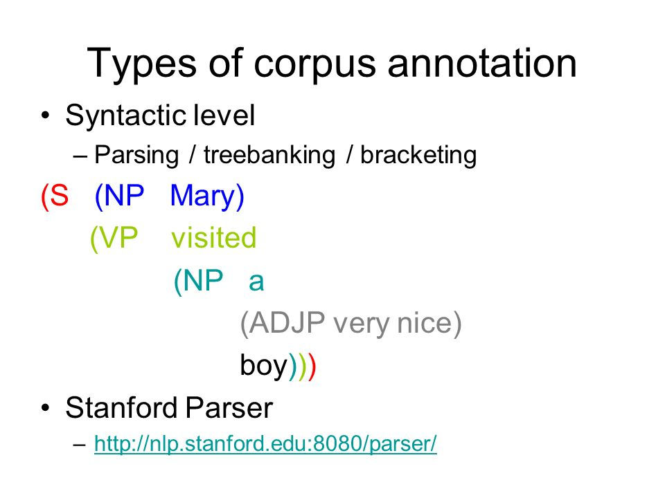 Types of corpus annotation
