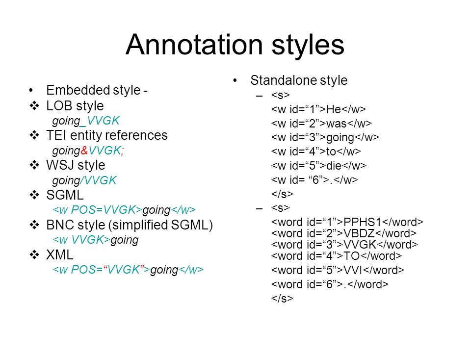 Annotation styles Standalone style Embedded style - LOB style