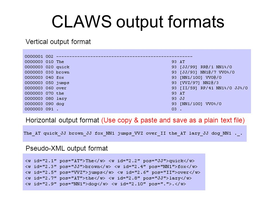 CLAWS output formats Vertical output format