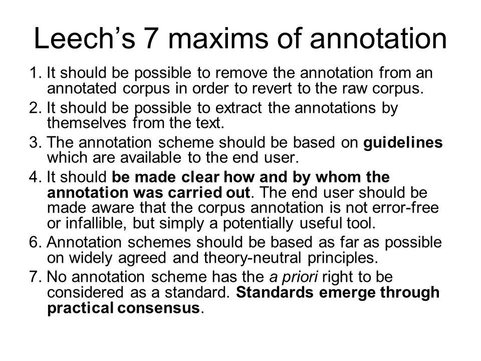 Leech's 7 maxims of annotation