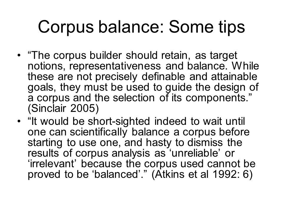 Corpus balance: Some tips