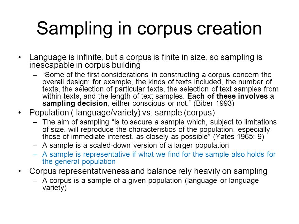 Sampling in corpus creation