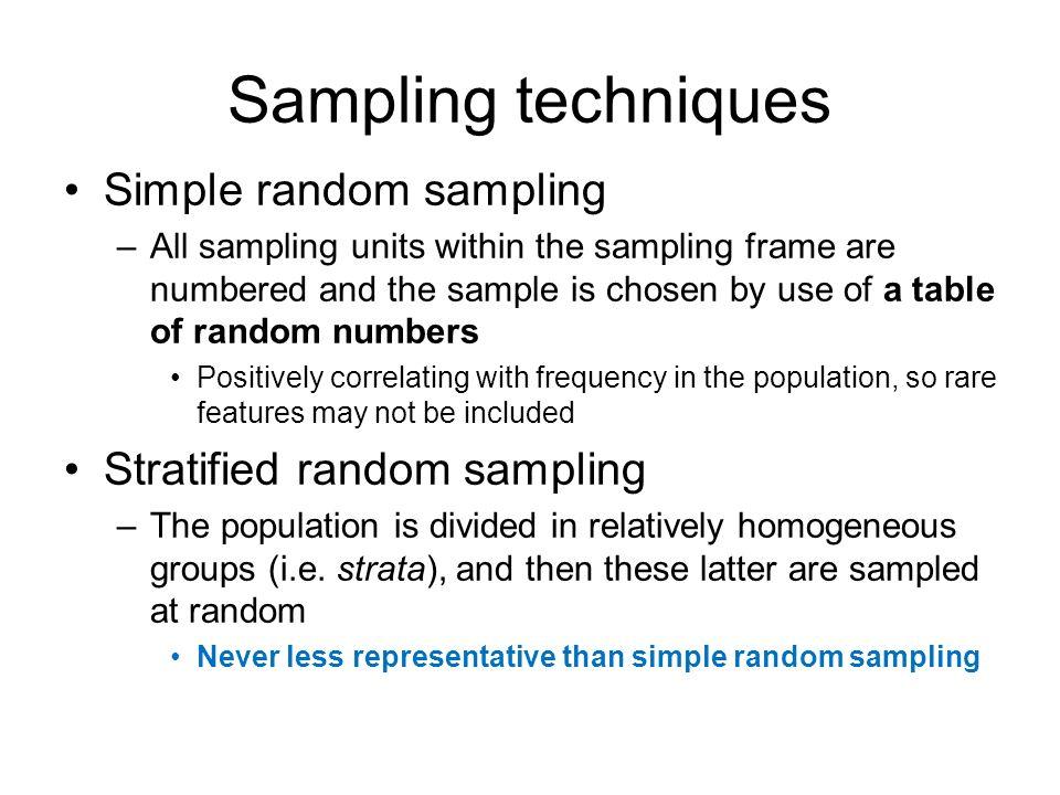 Sampling techniques Simple random sampling Stratified random sampling