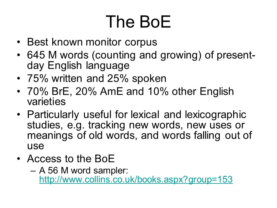 The BoE Best known monitor corpus