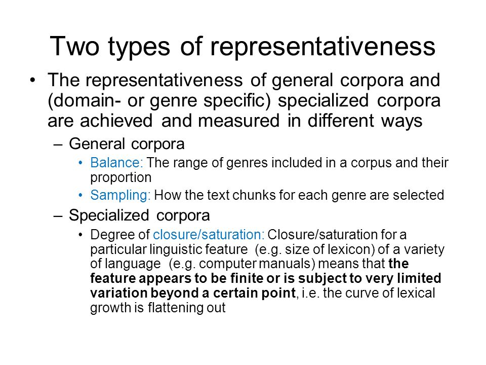 Two types of representativeness