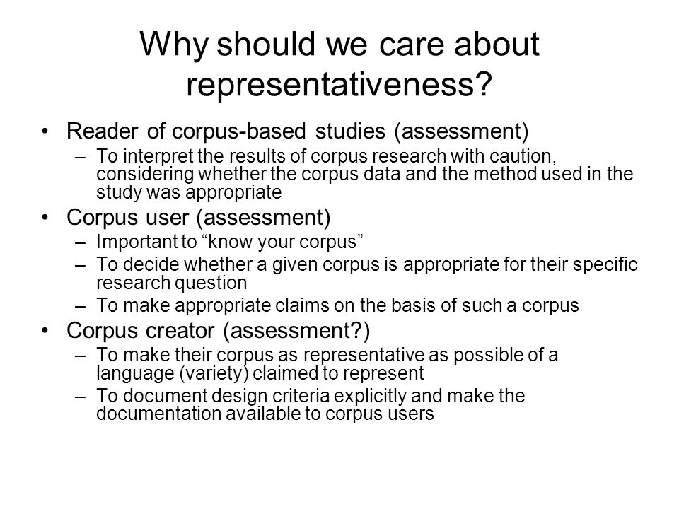 Why should we care about representativeness