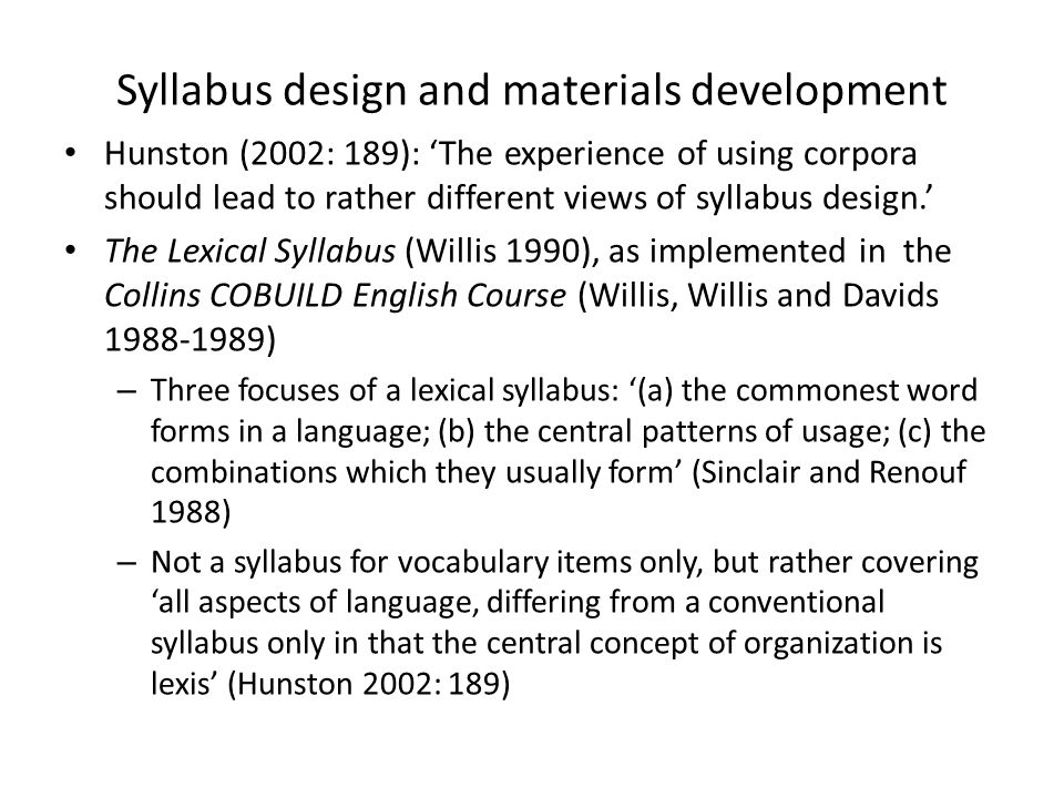Syllabus design and materials development