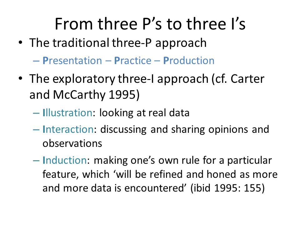From three P's to three I's