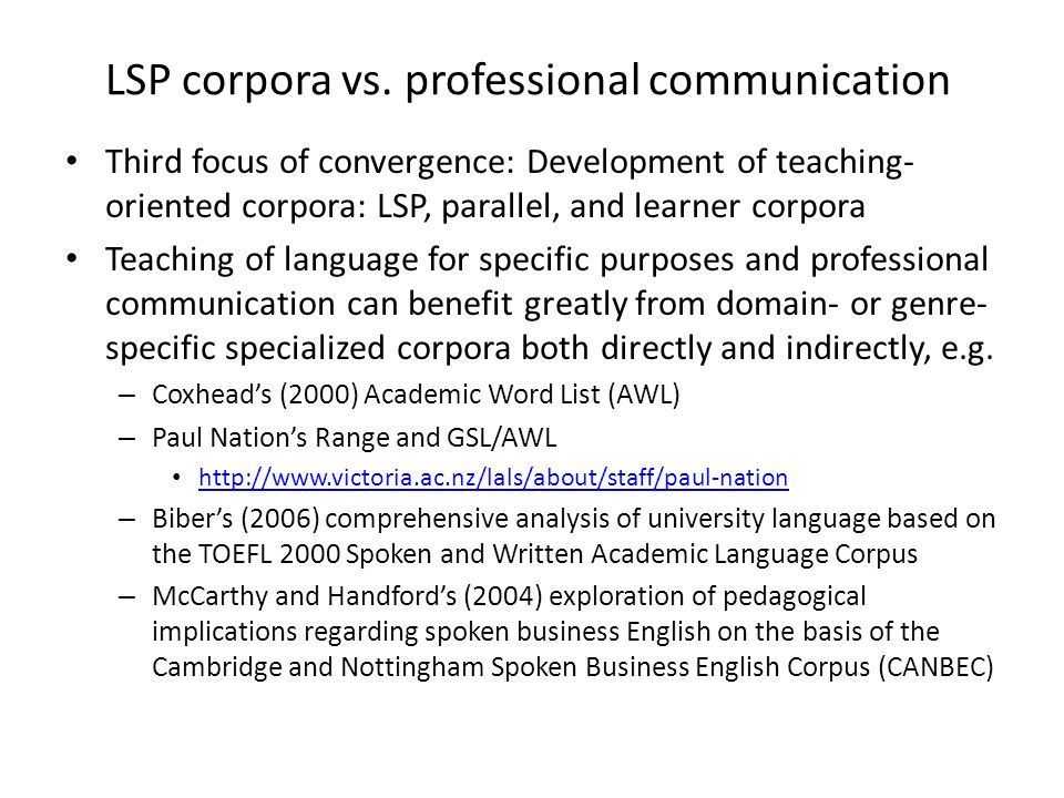 LSP corpora vs. professional communication