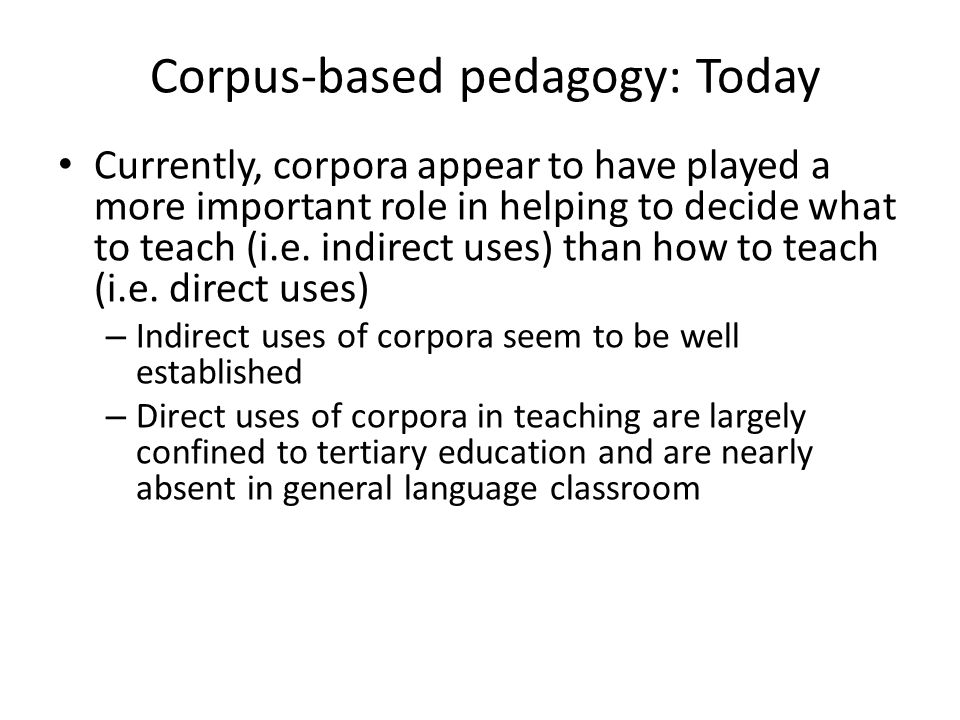 Corpus-based pedagogy: Today