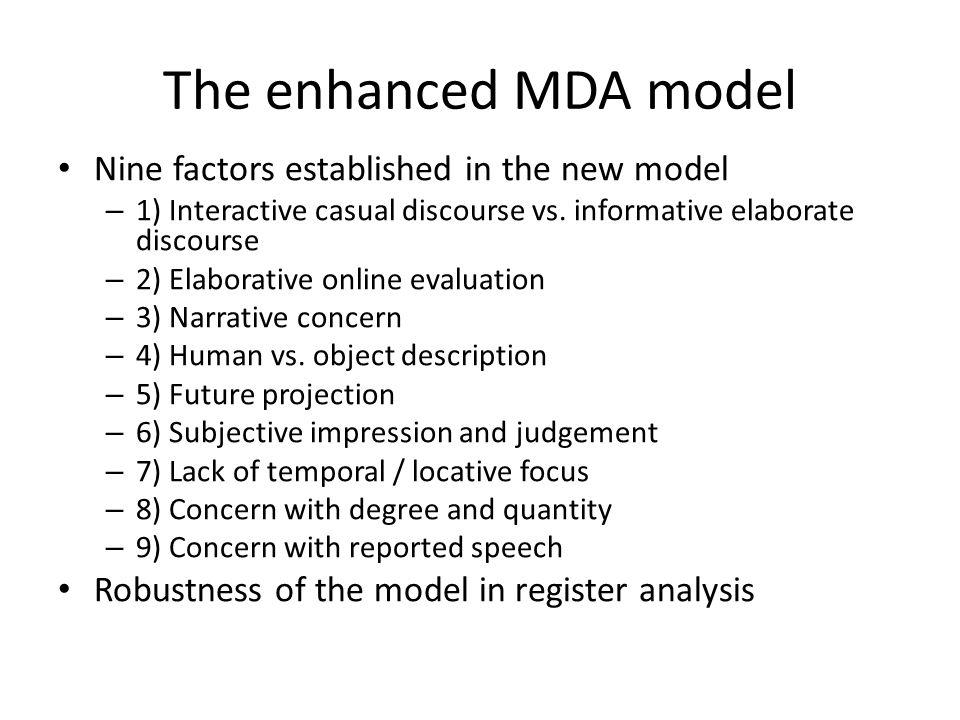 The enhanced MDA model Nine factors established in the new model