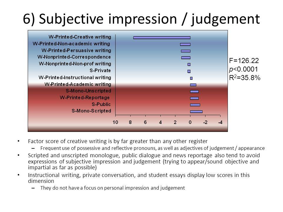 6) Subjective impression / judgement