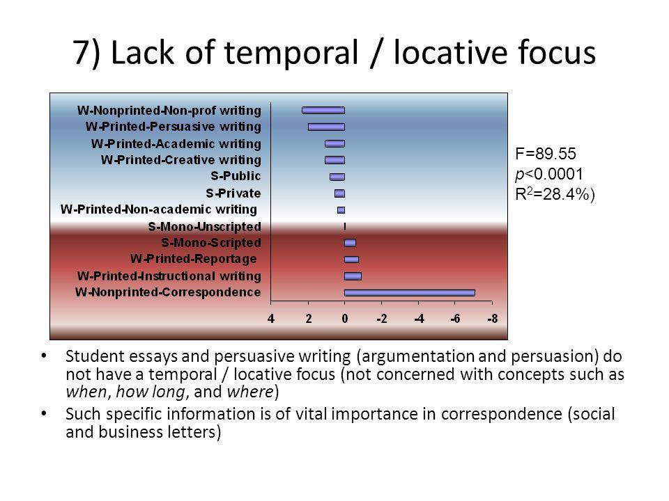 7) Lack of temporal / locative focus